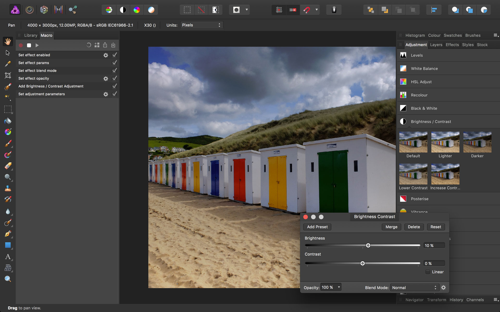 How to record and play back Macros in Affinity Photo